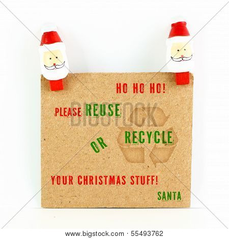 After Christmas Card With Environmental Message With Santa Isolated On White