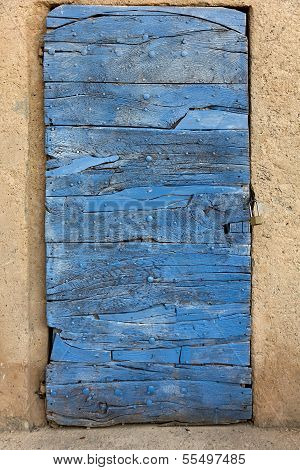 Old Door, Built Up From Timber, Blue Colored.