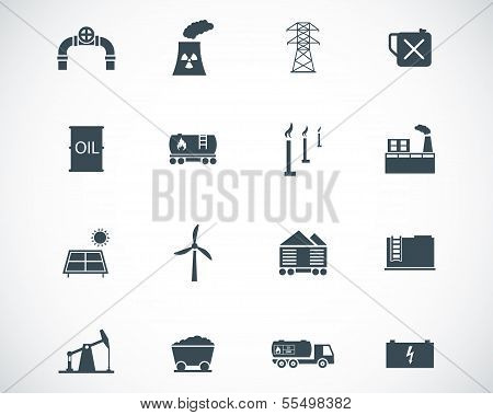 Vector black  industry icons set