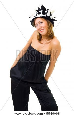 Woman In Party Hat Posing
