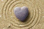 image of pumice stone  - Grey zen stone in shape of heart - JPG