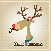 pic of knitwear  - Vector Illustration Hipster Reindeer Merry Christmas Card - JPG