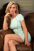 pic of tight dress  - Beautiful tall blonde in a tight green dress - JPG