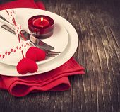 stock photo of knife  - Festive Table Setting For Valentine - JPG