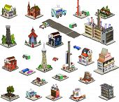 picture of row houses  - City 3D icons collection to build your city with parks and traffic 
