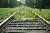 stock photo of railroad car  - Rail tracks for the street car in Edmonton - JPG