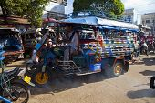 Champasak Laos - Nov23- Three Wheel Vehicle  In Doawreung Market Pakse City Champasak Distric Southe