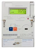 stock photo of electricity meter  - Residential smart electricity meter isolated on white with clipping path - JPG