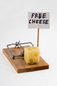 stock photo of mouse trap  - mouse trap with cheese and  - JPG