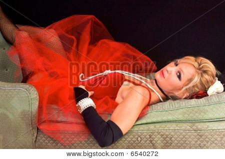 Woman Laying Down In Red