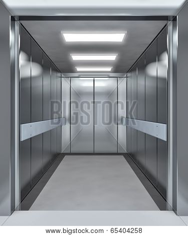 Modern Elevator With Opened Doors