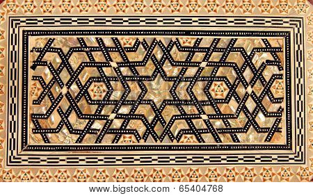 Traditional Turkish Pattern On Handicraft Wooden Box