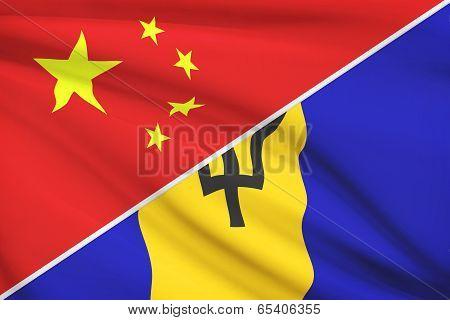 Series Of Ruffled Flags. China And Barbados.