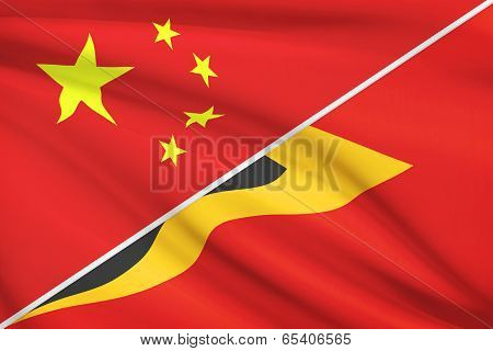 Series Of Ruffled Flags. China And Democratic Republic Of Timor-leste.