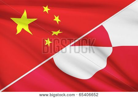 Series Of Ruffled Flags. China And Greenland.