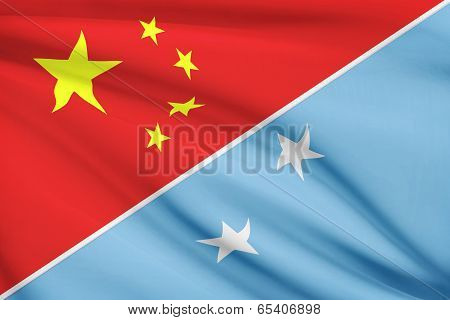 Series Of Ruffled Flags. China And Federated States Of Micronesia.