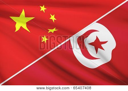 Series Of Ruffled Flags. China And Tunisian Republic.