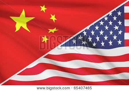 Series Of Ruffled Flags. China And United States Of America.