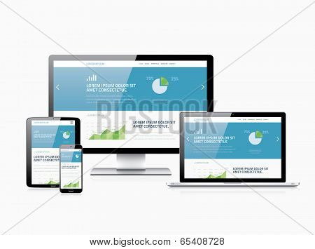 Flat modern website analytics search engine optimization and responsive web design