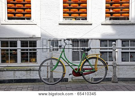 Bike And Cheese In Town Delft - Symbol Of Netherlands