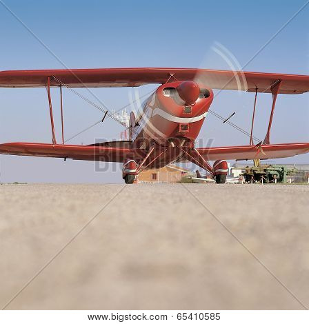 Red Airplane Ready To Take Off