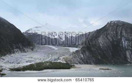 Patagonian Landscape With Glacier And Mountains
