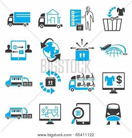 shipping service and cargo icons