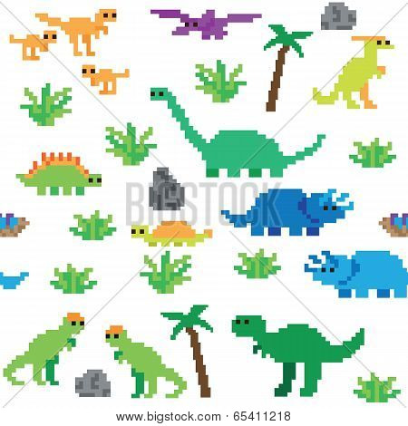 Seamless retro pixel game dinosaur pattern