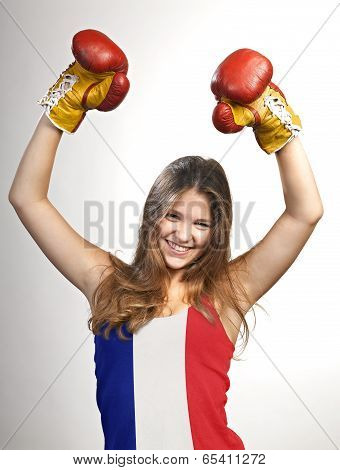 Success Woman Celebrating For Her Succes With The Flag Of French On Her Shirt