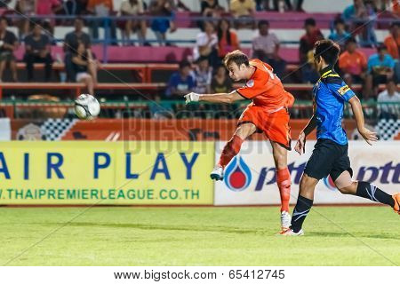 Sisaket Thailand-may 21: Albert Manteca Baldo Of Sisaket Fc. (orange) In Action During Thaicom Fa Cu
