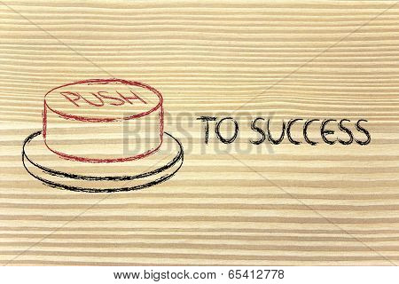 Funny Success Button, Push To Success