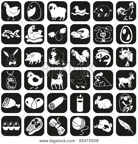 Icons Farm Animals And Products