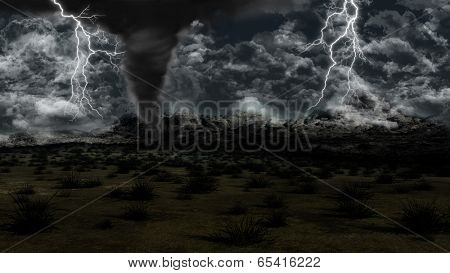 3D landscape with stormy sky, lightning and twister