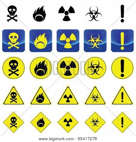 Warning sign for radio active, bio hazard, flame
