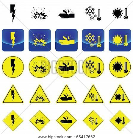 Warning sign for electricity shock, explosive, corrosion, cold, heat vector