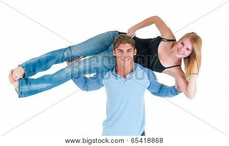 Strong Man Holding Girl On His Shoulders