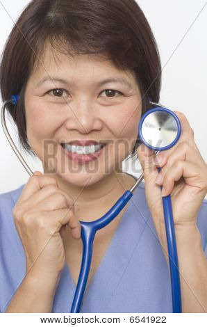 Asian Nurse With Stethoscope