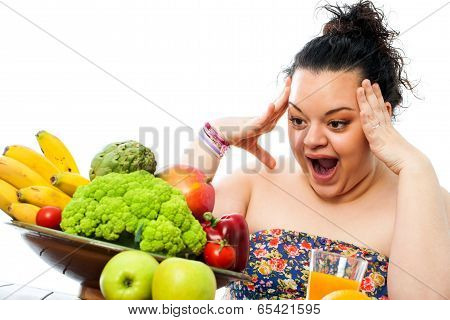 Obese Teen With Skocking Face Expression.