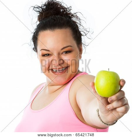 Overweight Girl Holding Green Apple.
