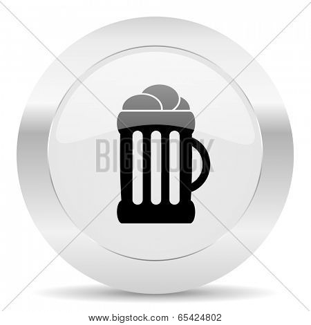 beer silver glossy web icon
