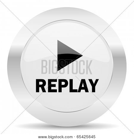 replay silver glossy web icon