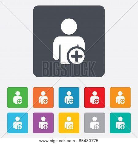 Add user sign icon. Add friend symbol.