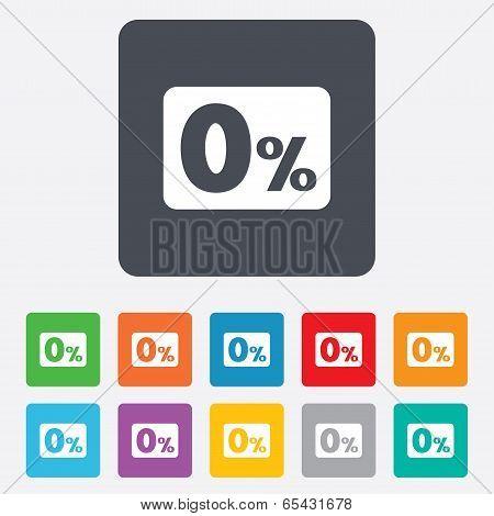 Zero percent sign icon. Zero credit symbol.