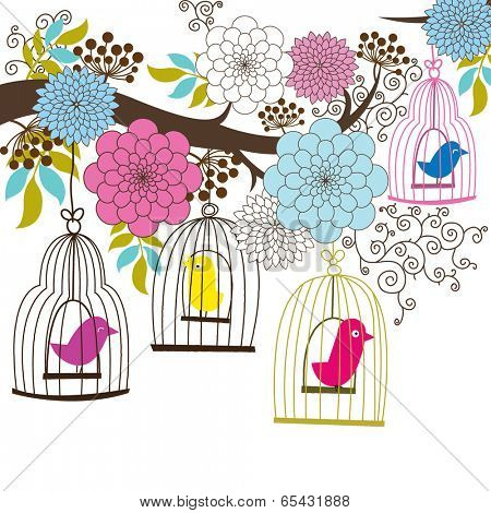 Retro Wedding Floral and Birdcage - Illustration