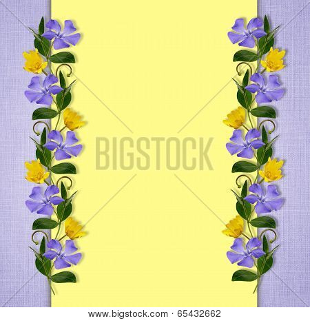 Yellow And Blue Background With Wild Flowers