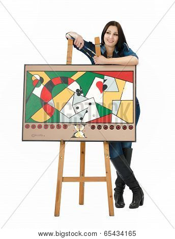 Artist Leaning On An Easel With His Abstract Painting
