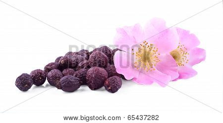 The Heap Of Wild Rose Fruits  With Its Flowers