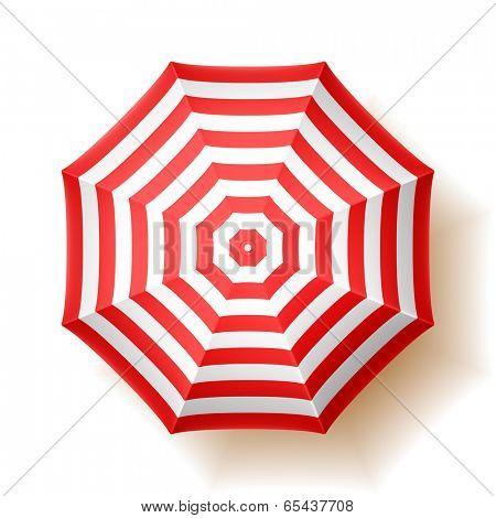 Beach umbrella, top view. Vector.