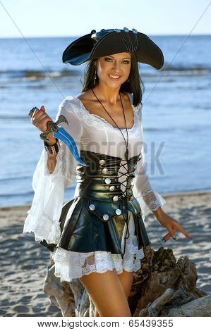 Pirate Woman At The Beach