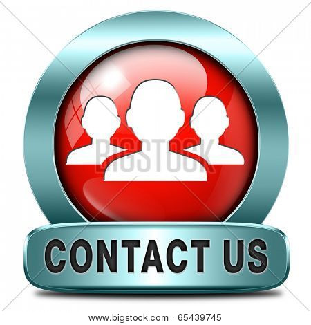 contact us here for feedback icon or sign. Coordinates and address for customer support and extra information